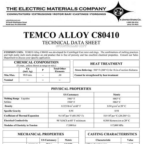 TEMCO Alloy C80410